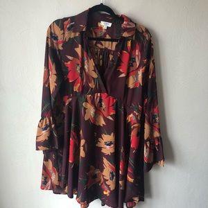 Umgee floral wrap front dress